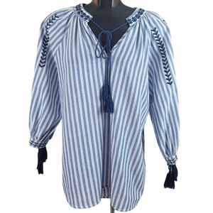 ANTHRO ANOTHER STORY Tunic Blouse Blue Stripes…